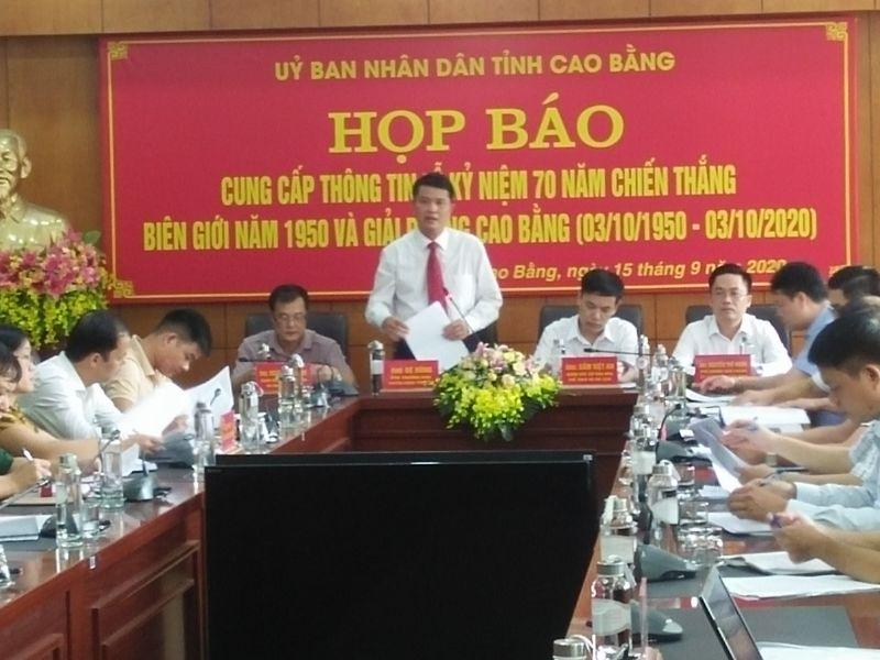 Ông Bế Dũng, Phó Trưởng Ban Tuyên giáo Tỉnh ủy Cao Bằng phát biểu tại cuộc họp báo