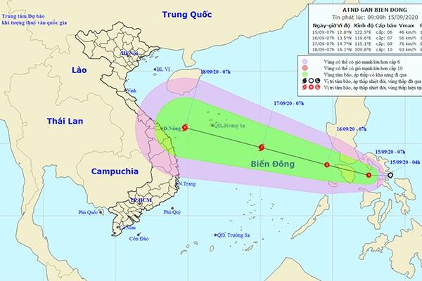 Dự báo hướng đi của áp thấp nhiệt đới (Ảnh: NCHMF)
