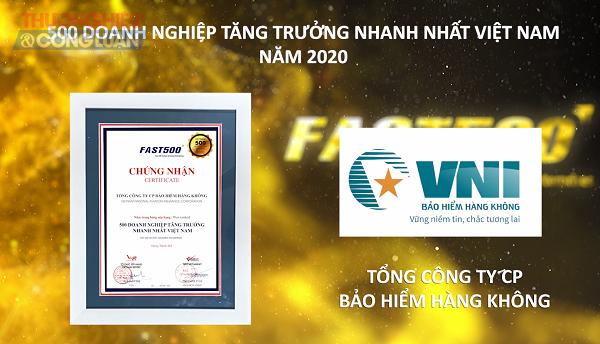VNI cũng tự hào nằm trong Top 500 doanh nghiệp tăng trưởng nhanh nhất Việt Nam năm 2020 (FAST500) với vị trí thứ 63/500