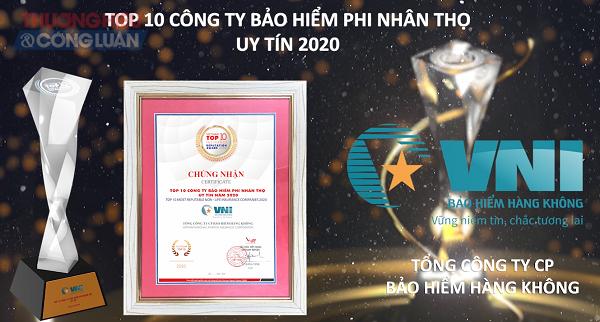 VNI) vinh dự nhận danh hiệu Top 10 Công ty Bảo hiểm Phi nhân thọ uy tín