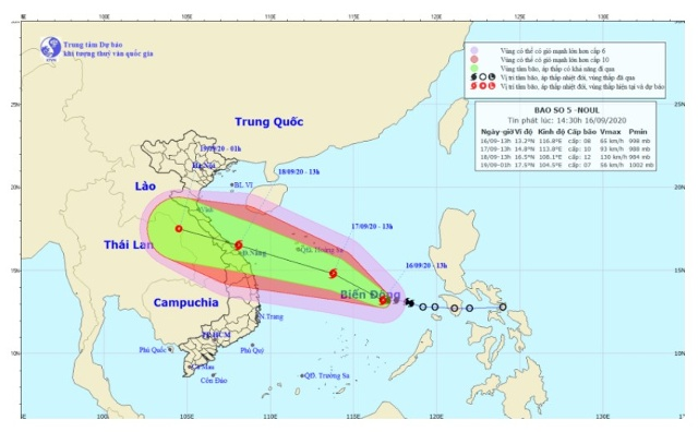 Vị trí và hướng đi của bão số 5 Noul. Nguồn: NCHMF