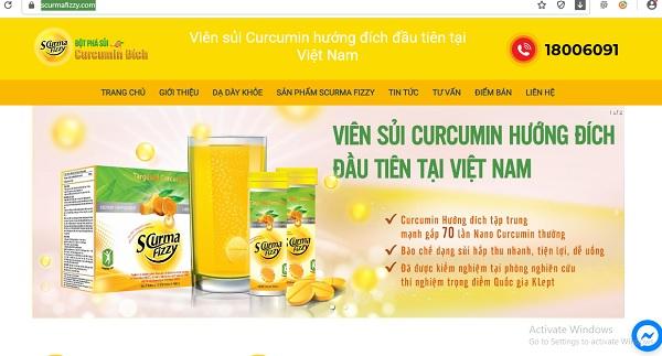 Thông tin quảng cáo sản phẩm trên trang website: scurmafizzy.com