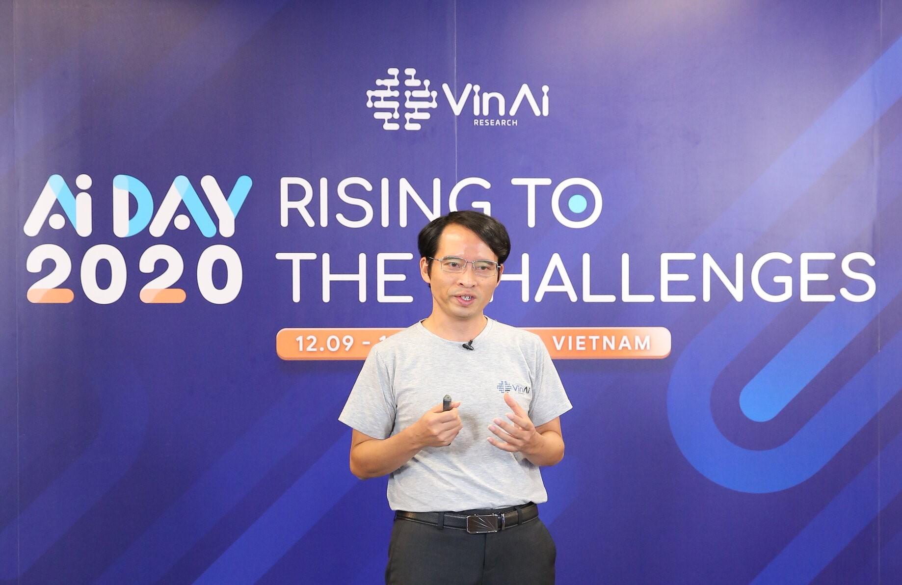 Tiến sĩ Bùi Hải Hưng – Viện trưởng Viện nghiên cứu Trí tuệ nhân tạo VinAI Research (thuộc Tập đoàn Vingroup) công bố 2 giải pháp Vcam Kristal và VSound Alto tại sự kiện AI Day 2020 (12/09)