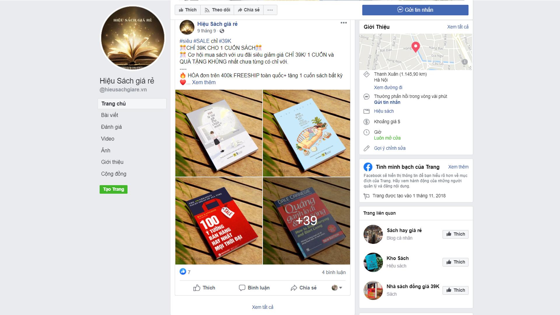 danh sách Fanpage bán sách giả