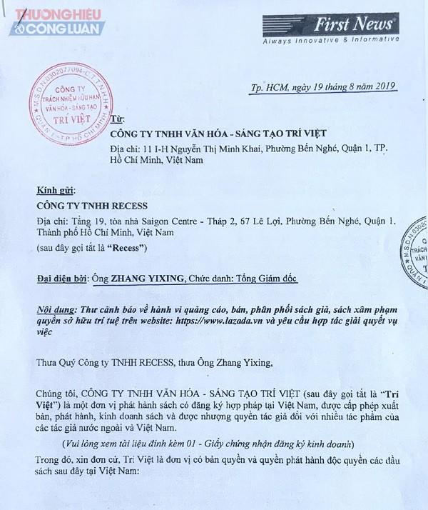 Một trong những công văn của Công ty Văn hóa Sáng tạo Trí Việt - First News gửi Lazada, cảnh báo về việc bán sách giả.