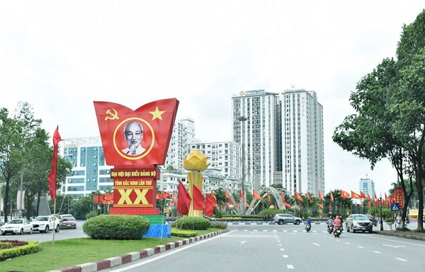 Cờ, pano, áp phích, chào mừng Đại hội đại biểu Đảng bộ tỉnh Bắc Ninh lần thứ XX