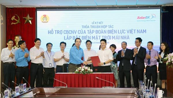 Lễ ký kết Thỏa thuận hợp tác giữa Công đoàn Điện lực Việt Nam và và Công ty CP Đầu tư & Phát triển năng lượng mặt trời Bách Khoa