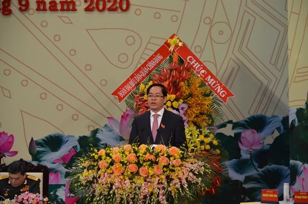 Ủy viên Trung ương Đảng, Bí thư Tỉnh ủy BR-VT Phạm Viết Thanh đọc diễn văn khai mạc Đại hội