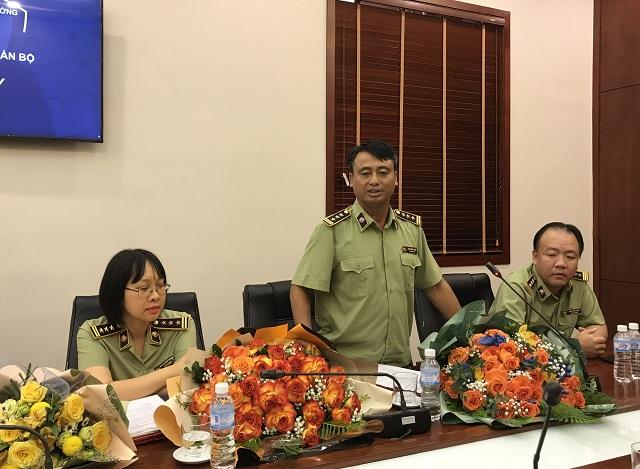 Tân Cục trưởng Cục Nghiệp vụ QLTT phát biểu nhận nhiệm vụ công tác mới