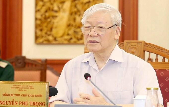 Tổng bí thư, Chủ tịch nước Nguyễn Phú Trọng chủ trì buổi làm việc của tập thể Bộ Chính trị với Ban Thường vụ Đảng uỷ Công an Trung ương (Ảnh: TTXVN)
