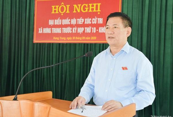 Tổng Kiểm toán Nhà nước Hồ Đức Phớc trả lời các kiến nghị của cử tri xã Hưng Trung, huyện Hưng Nguyên
