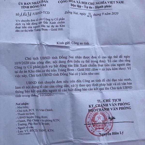 văn bản số 11431/UBND-TCD (ngày 24/9/2020) của UBND tỉnh Đồng Nai gửi Công an tỉnh