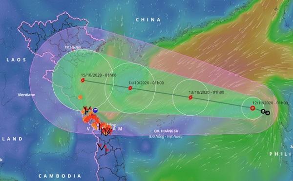 Vị trí và đường đi của bão số 7