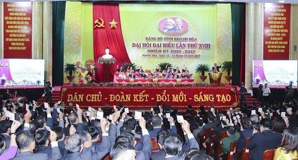 Quang cảnh Đại hội đại biểu Đảng bộ tỉnh Khánh Hòa lần thứ XVIII nhiệm kỳ 2020- 2025