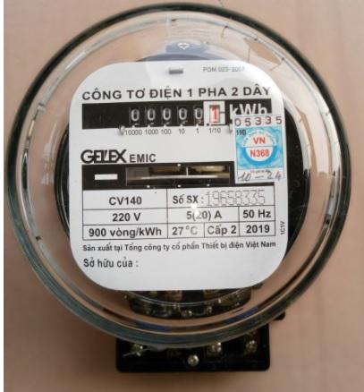 Công tơ cơ khí 1 pha 2 dây GELEX EMIC 5(20A)
