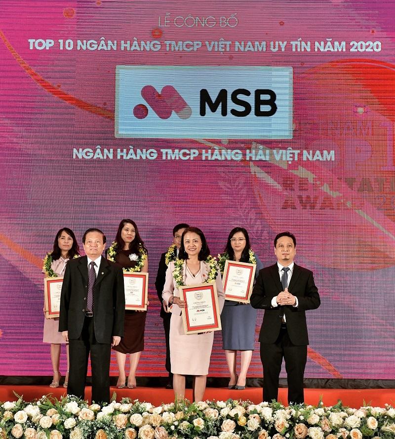 MSB được vinh danh trong Top 10 Ngân hàng TMCP tư nhân uy tín nhất Việt Nam năm 2020