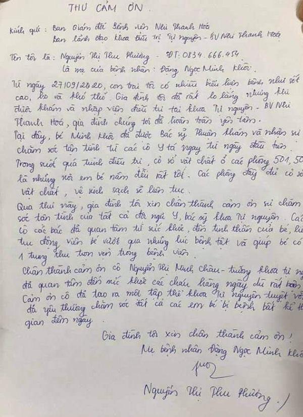 Gia đình bệnh nhân gửi thư cảm ơn tới Khoa điều trị tự nguyện - Bệnh viện nhi Thanh Hóa