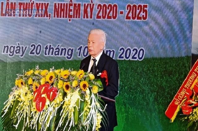 Ông Lê Văn Tam- Anh hùng lao động thời kỳ đổi mới, Chủ tịch Hội đồng quản trị Công ty mía đường Lam Sơn phát biểu tại buổi lễ