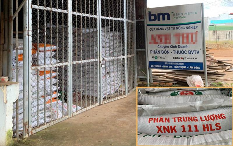 Cửa hàng bị phát hiện lô hàng 40 tấn phân bón không được phép lưu hành và loại phân bón vừa bị thu giữ