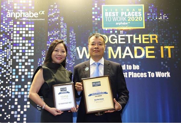"""Bảo Việt được vinh danh trong Top 100 """"Nơi làm việc tốt nhất Việt Nam"""" và Top 50 """"Thương hiệu nhà tuyển dụng hấp dẫn"""" năm 2020 do Anphabe bình chọn"""