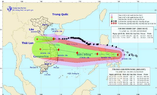 Bão số 8, bão Molave nối đuôi nhau tiến thẳng miền Trung.