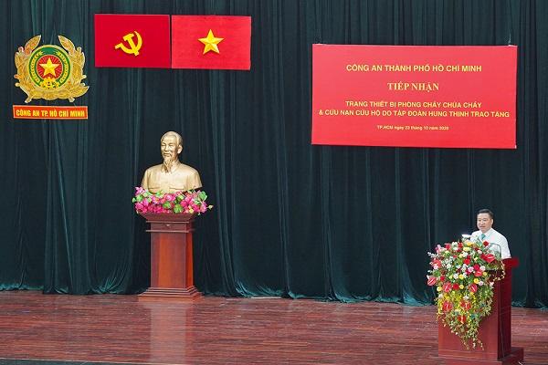 Ông Nguyễn Đình Trung - Chủ tịch Tập đoàn Hưng Thịnh chia sẻ về mong muốn được chung tay góp sức với công tác PCCC và cứu nạn, cứu hộ của Thành phố.