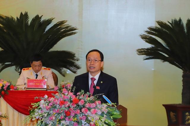 đồng chí Trịnh Văn Chiến, Ủy viên Trung ương Đảng, Bí thư Tỉnh ủy, Chủ tịch HĐND tỉnh đọc diễn văn khai mạc,