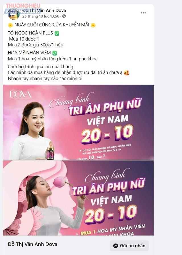 """Ngày 24/10/2020, trên trang facebook Đỗ Thị Vân Anh Dova với hình ảnh của """"bà chủ"""" Đỗ Thị Vân Anh, vẫn tiếp tục quảng cáo bán sản phẩm Hoa Mỹ nhân"""