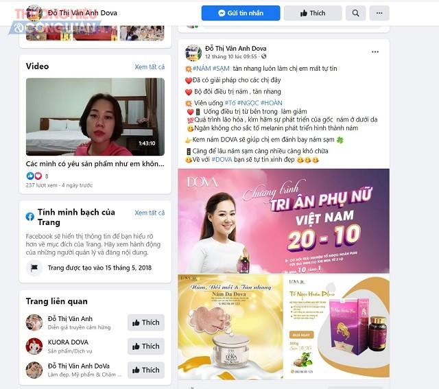 Trên trang facebook Đỗ Thị Vân Anh Dova, có quảng cáo sản phẩm Nám da Dova