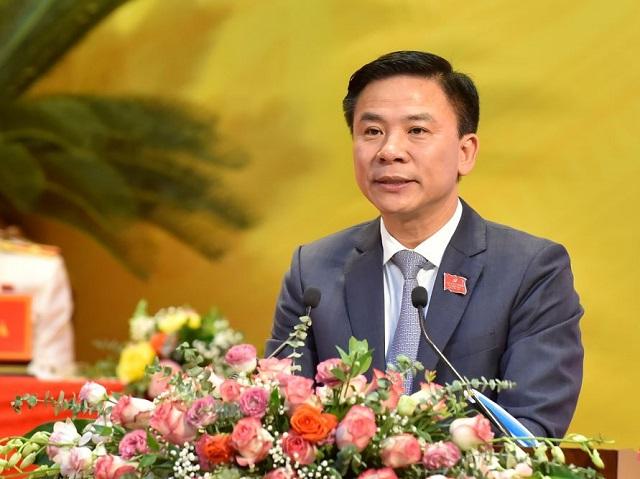 Đỗ Trọng Hưng - Bí thư Tỉnh ủy, Trưởng đoàn ĐBQH tỉnh Thanh Hóa phát biểu  tại Đại hội
