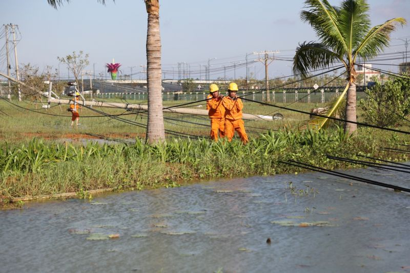 Lưới điện bị thiệt hại nặng nề do bão số 9