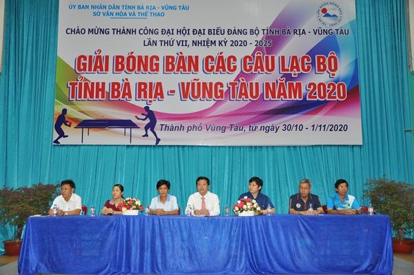 """Ban Tổ chức """"Giải bóng bàn các Câu lạc bộ tỉnh Bà Rịa Vũng Tàu 2020"""""""