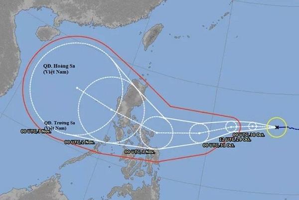 Dự báo vị trí và hướng di chuyển của bão Goni (Nguồn Người Lao Động)