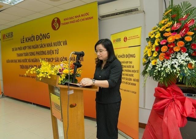Bà Ngô Thu Hà - Phó TGĐ SHB cam kết, việc thực hiện thanh toán sẽ được SHB triển khai trên hệ thống công nghệ hiện đại nhất