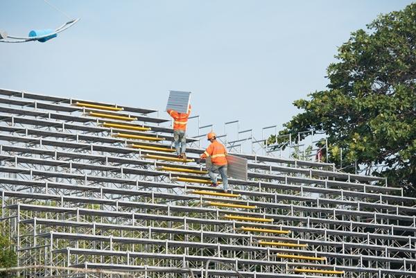 Sân khấu trải dài 40m đã được thi công lắp dựng tại Công viên Bãi Trước, TP. Vũng Tàu