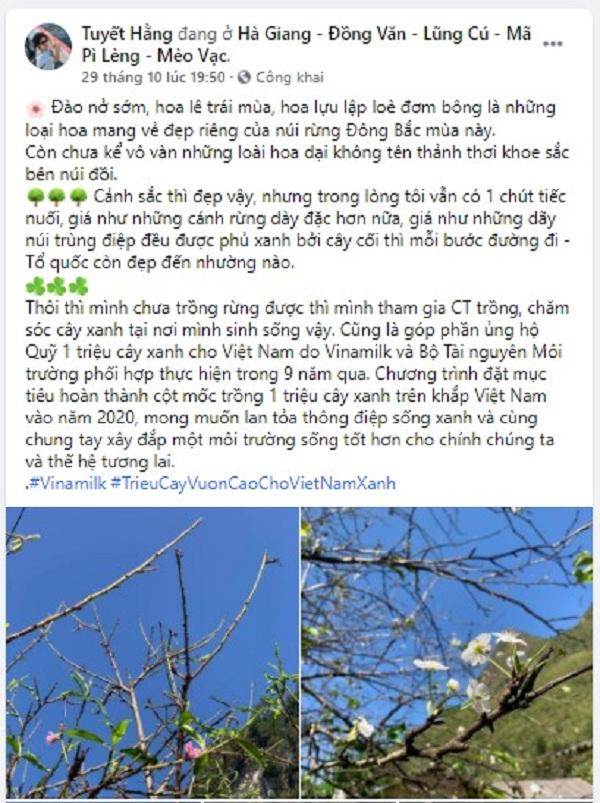 Hình ảnh thiên nhiên tươi đẹp trên bài đăng của chị Tuyết Hằng (Nguồn: Facebook Tuyết Hằng)