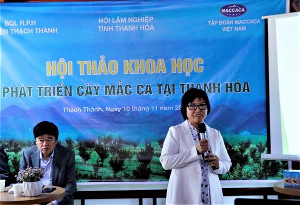 TS. Nguyễn Thị An có tham luận về khâu chọn giống mắc ca