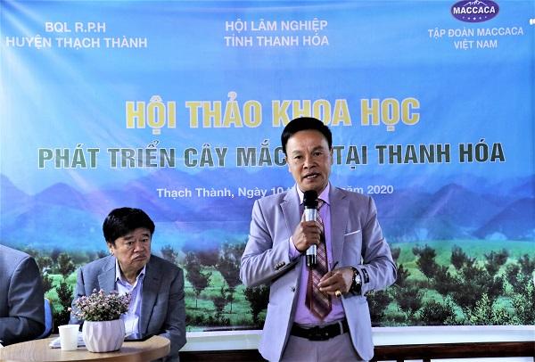 Ông Nguyễn Ngọc Long – Giám đốc Vùng nguyên liệu Tập đoàn Maccaca Việt Nam tại buổi Hội thảo