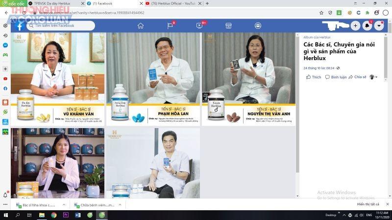 Thương hiệu Herblux vô tư sử dụng hình ảnh bác sĩ, nhân viên y tế để quảng cáo sản phẩm