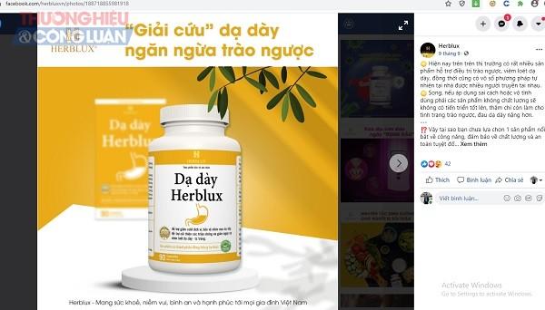 Thực phẩm dạ dày Herblux có vi phạm luật Quảng cáo, luật An toàn thực phẩm?