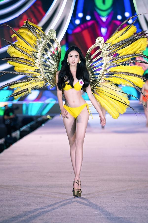 Các thí sinh trình diễn bikini với đôi cánh lông vũ nổi bật
