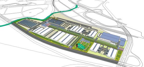 """Phối cảnh tổng thể dự án """"Trung tâm Logistics ICD Vĩnh Phúc"""" do Liên danh Tập đoàn T&T Group (Việt Nam) – Tập đoàn YCH – YCH Holdings (Singapore) làm chủ đầu tư."""