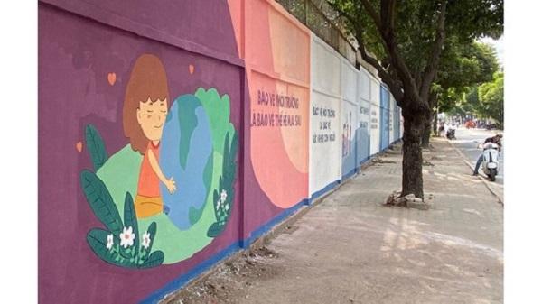 """Công trình """"biến mảng tường cũ thành tranh tuyên truyền"""" tại phường Hiệp Phú, quận 9"""