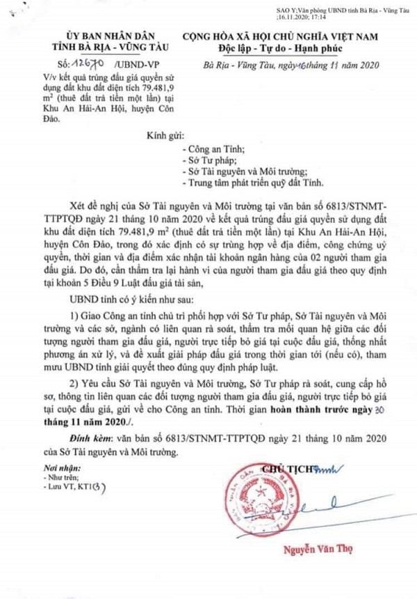 Văn bản số 12670/UBND - VP của UBND tỉnh Bà Rịa-Vũng Tàu