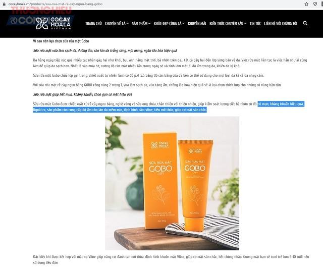 sản phẩm sữa rửa mặt GOBO được quảng cáo công dụng là kháng khuẩn, chống lão hóa, thọn gọn cơ mặt
