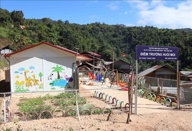 Điểm trường Huổi Moi (Trường Mầm non Pa Thơm, xã Pa Thơm, huyện Điện Biên, tỉnh Điện Biên) nằm ở vành đai biên giới Việt- Lào, cách trung tâm xã Pa Thơm hơn 30km. Đây là nơi sinh sống của 16 hộ dân thuộc cộng đồng dân tộc Cống. Ảnh: Xuân Tiến/TTXVN