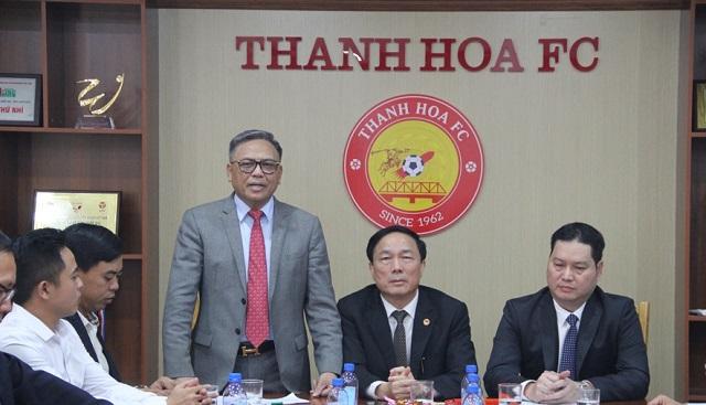 Ông Cao Tiến Đoan, Chủ tịch Hội đồng thành viên kiêm Tổng Giám độc Tập đoàn Bất động sản Đông Á phát biểu nhận nhiệm vụ quản lý, điều hành CLB bóng đá Thanh Hóa