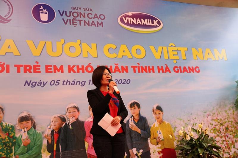Bà Nguyễn Thị Hà, Phó Giám đốc Quỹ Bảo trợ Trẻ em tỉnh Hà Giang mong ước Quỹ sữa Vươn cao Việt Nam và Vinamilk luôn gắn bó và hỗ trợ trẻ em vùng cao Hà Giang.