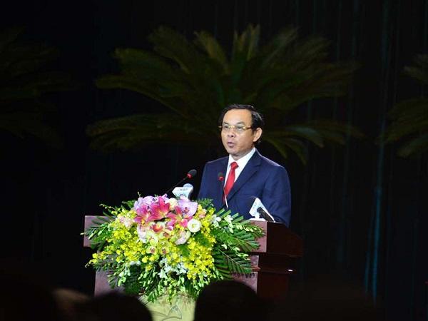 Bí thư Thành ủy TP.HCM Nguyễn Văn Nên đọc diễn văn ôn lại truyền thống hào hùng của ngày Nam kỳ khởi nghĩa. (Ảnh: Phương Thùy)