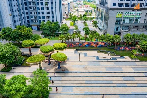 Không gian xanh mát tại quảng trường dự án TNR Goldmark City.